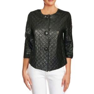 VINCE Quilted Leather A-Line Jacket - Size 6